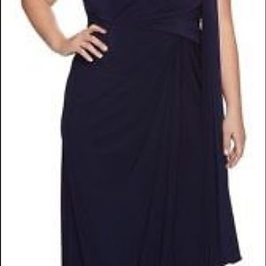 Adrianna Papell One Shoulder drape dress/gown